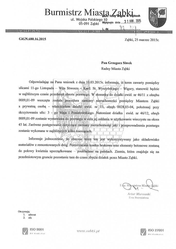 20150331 odp w spr działki 11-goListopada Wita Stwosza Wyszynskiego
